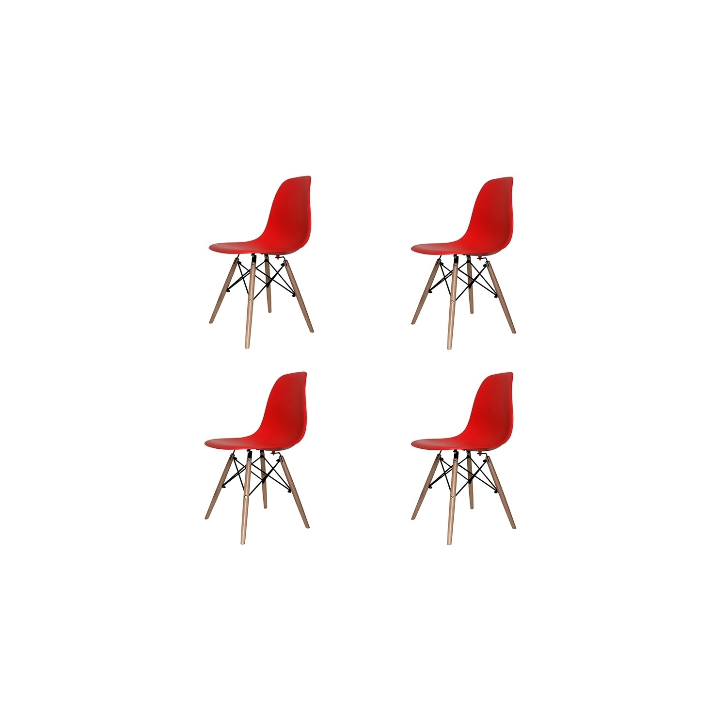 Pack de 4 sillas tower wood rojas baratas online for Sillas rojas baratas