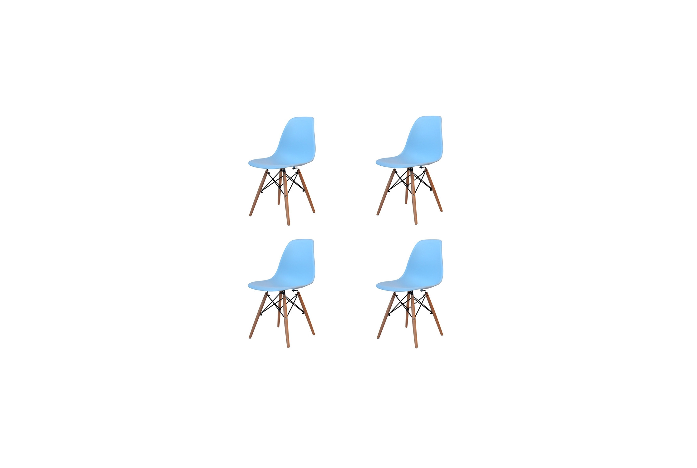 PACK 4 SILLAS TOWER WOOD AZUL CELESTE EXTRA QUALITY