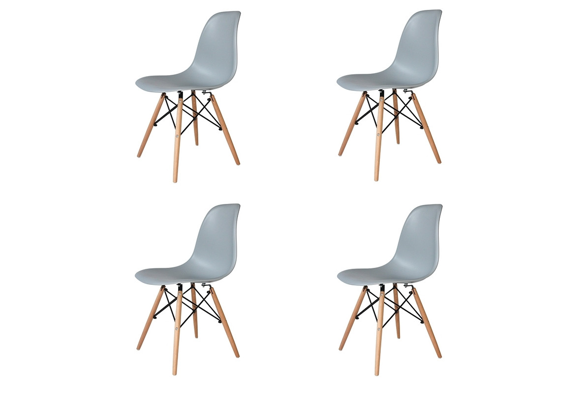 PACK 4 SILLAS TOWER WOOD GRIS EXTRA QUALITY