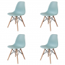 PACK 4 CHAISES TOWER WOOD EAUMARINE EXTRA QUALITY
