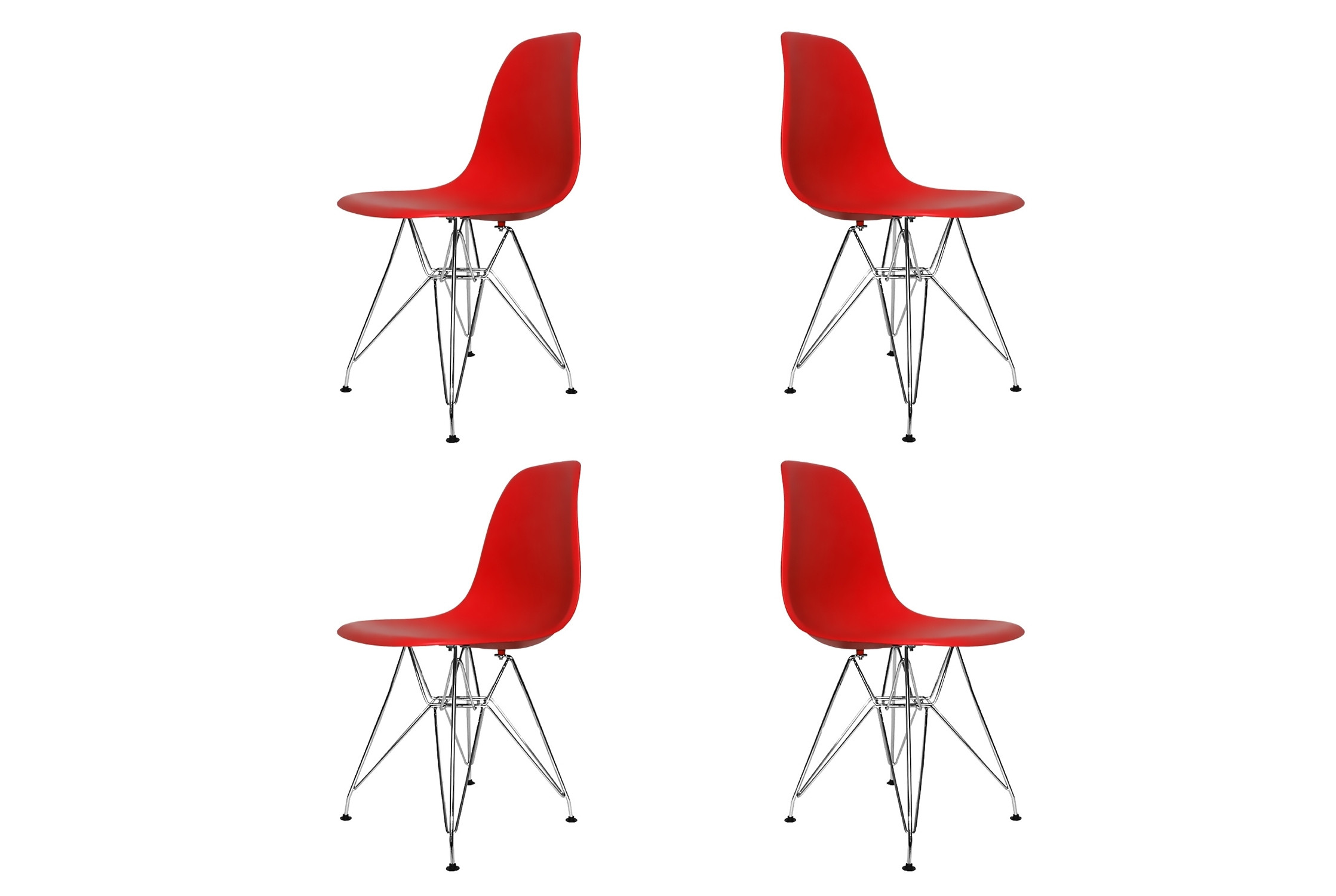 Set 4 sedie tower chrome rosse extra quality for Sedie cucina rosse