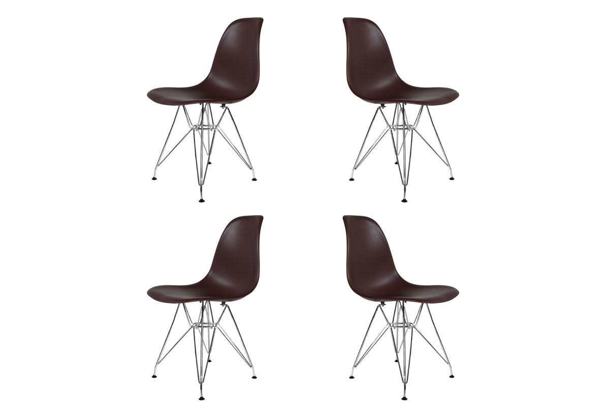 PACK 4 SILLAS TOWER CHROME CHOCOLATE EXTRA QUALITY