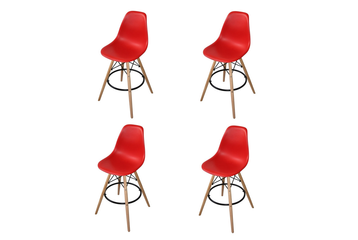 PACK 4 TABOURETS TOWER WOOD ROUGES