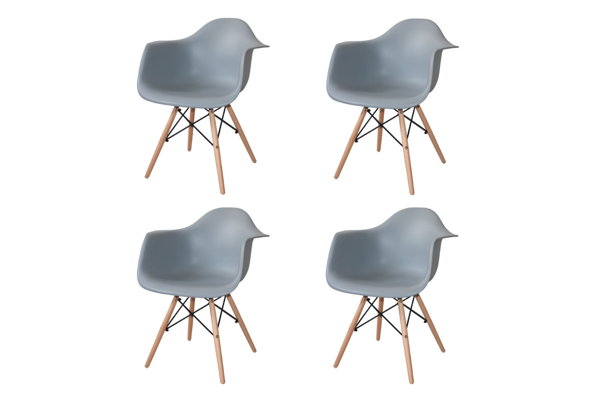 PACK 4 SILLONES TOWER WOOD GRISES