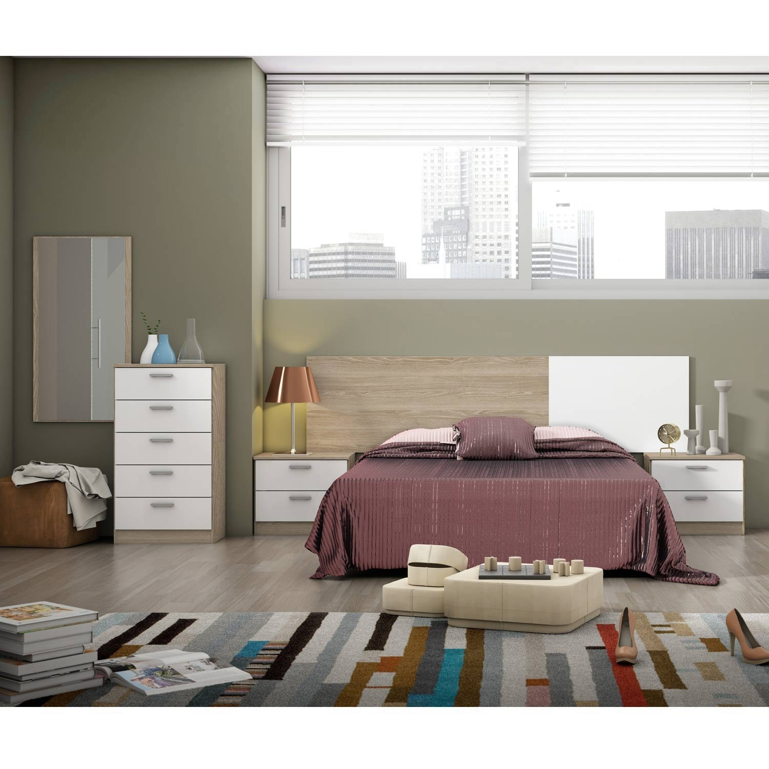 Conjunto de dormitorio couple two dormitorios baratos for Dormitorios modernos en blanco y plata