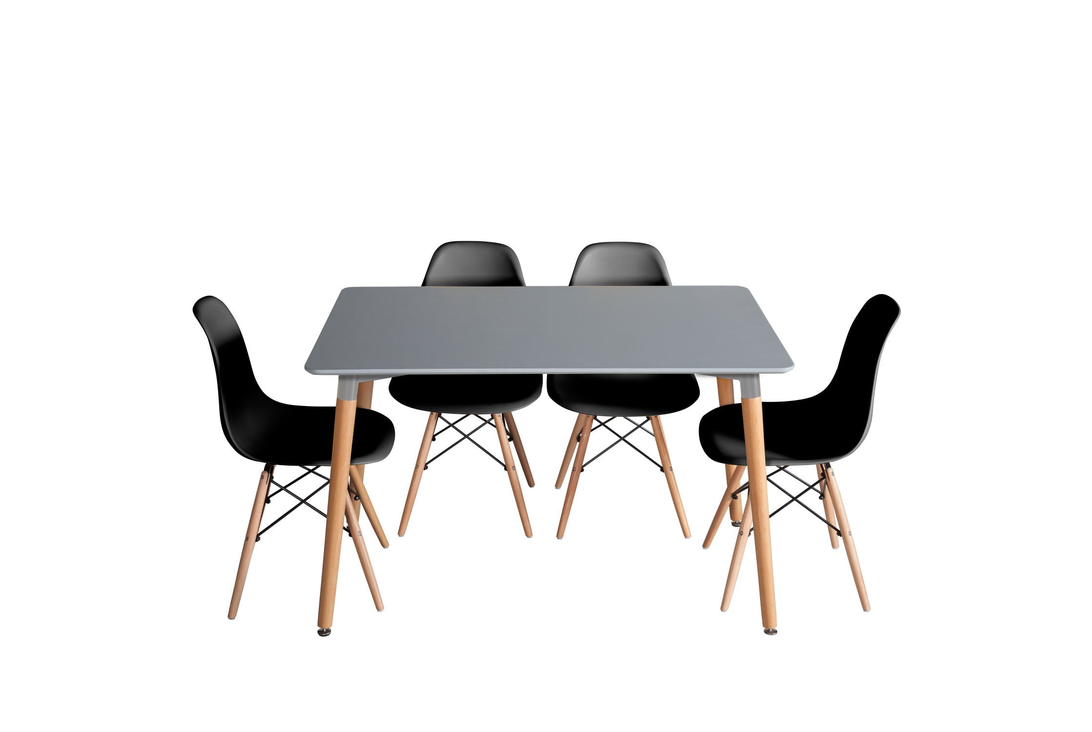 PACK MESA BEECH GRIS Y 4 SILLAS TOWER WOOD NEGRAS